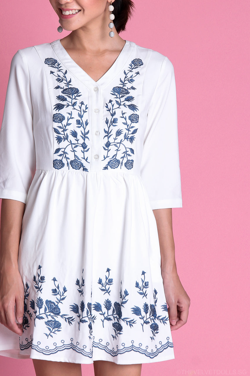 Restocked* Delilah Embroidered Babydoll Dress in White