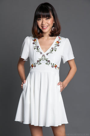 Restocked* Aster Floral Embroidered Dress in White