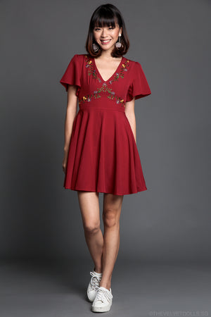 Restocked* Aster Floral Embroidered Dress in Wine