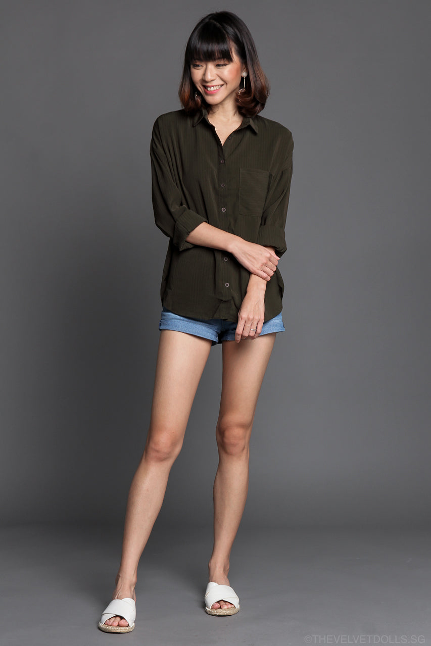 Jesse Boyfriend Shirt in Olive