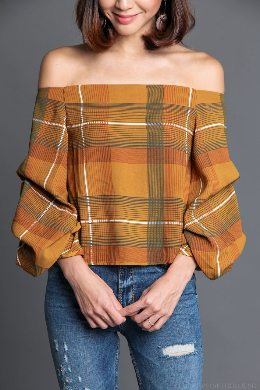 Imogen Off-Shoulder Plaid Top in Mustard