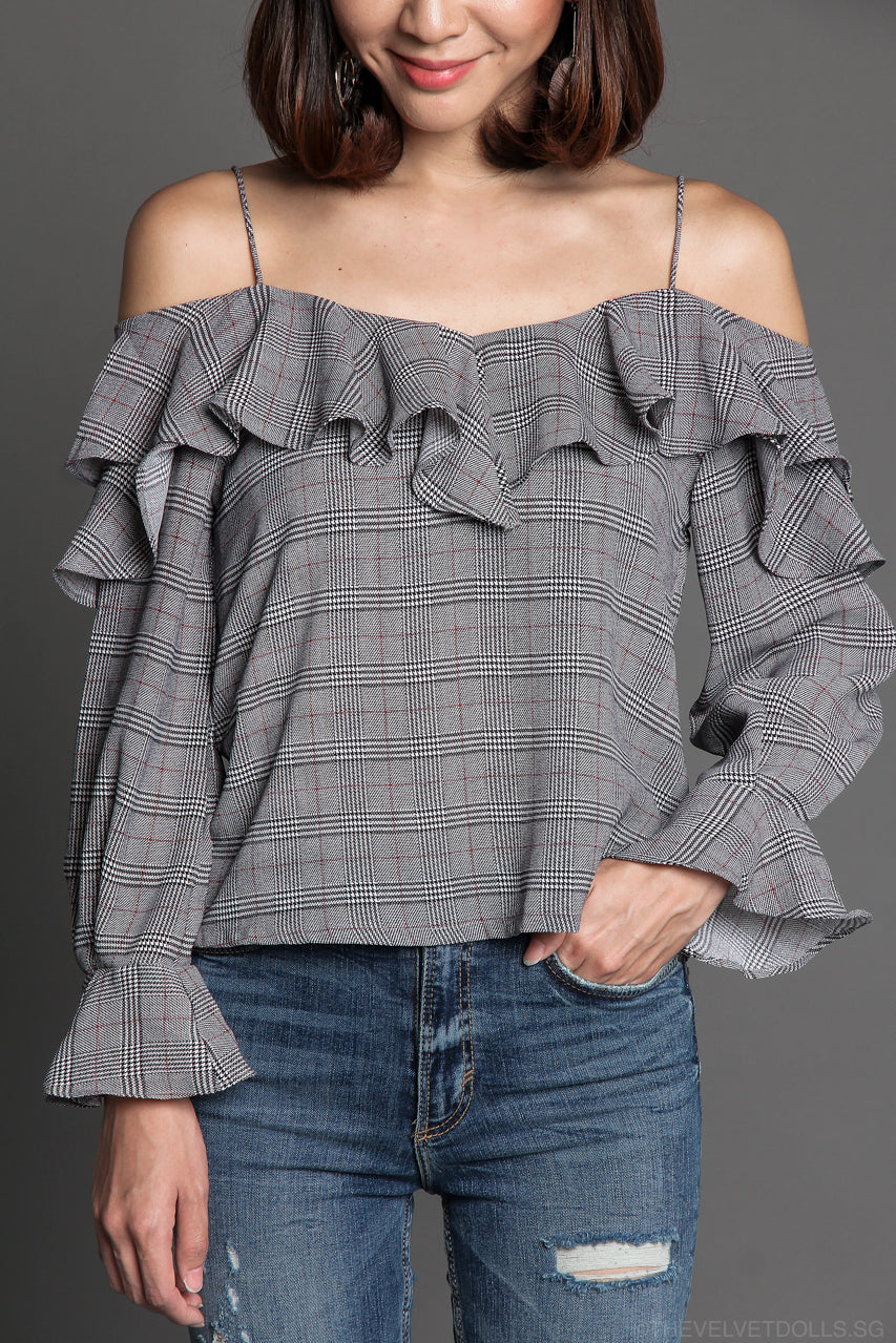Bellagio Plaid Ruffle Top