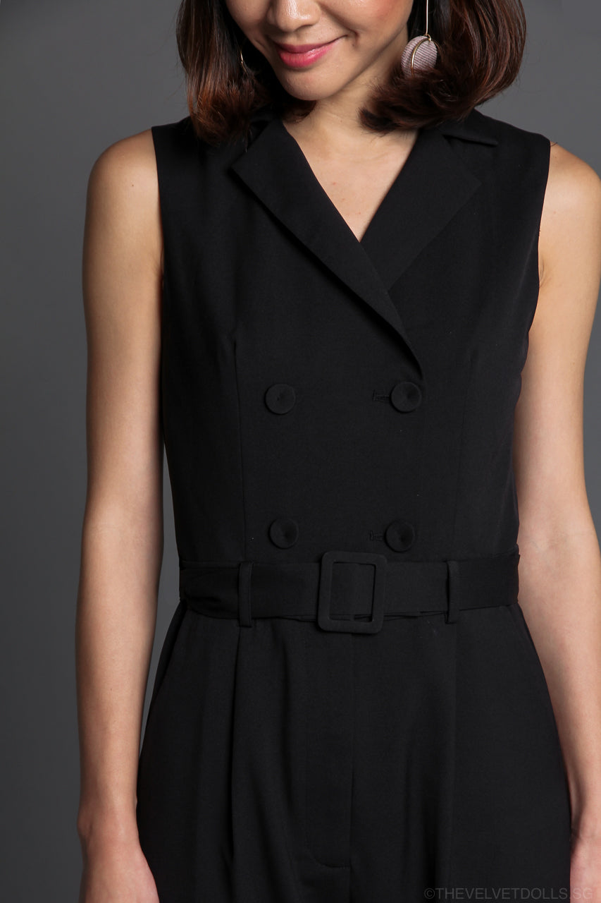 Cordelia Trench Jumpsuit in Black