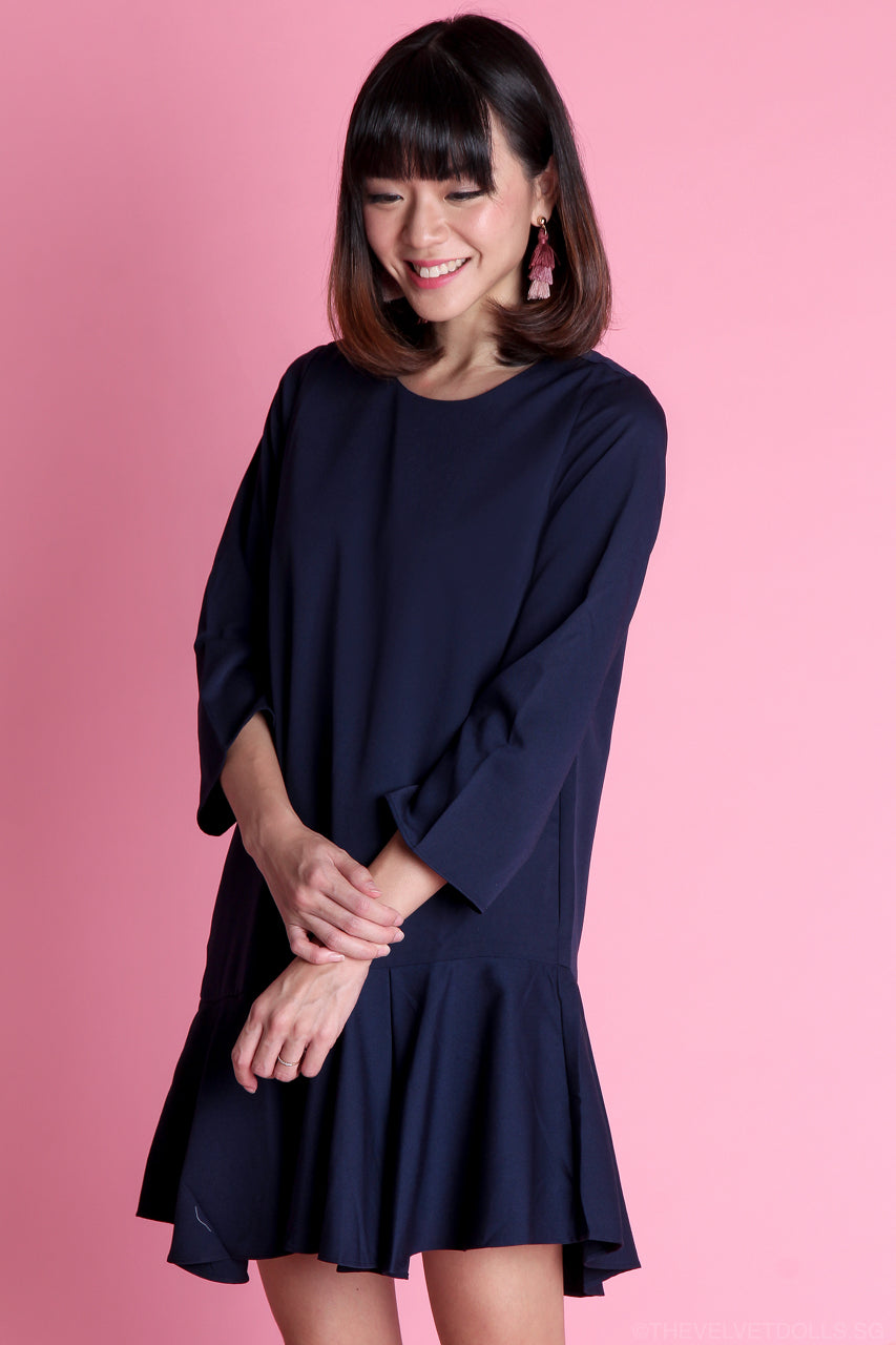 Janine Drophem Dress in Navy