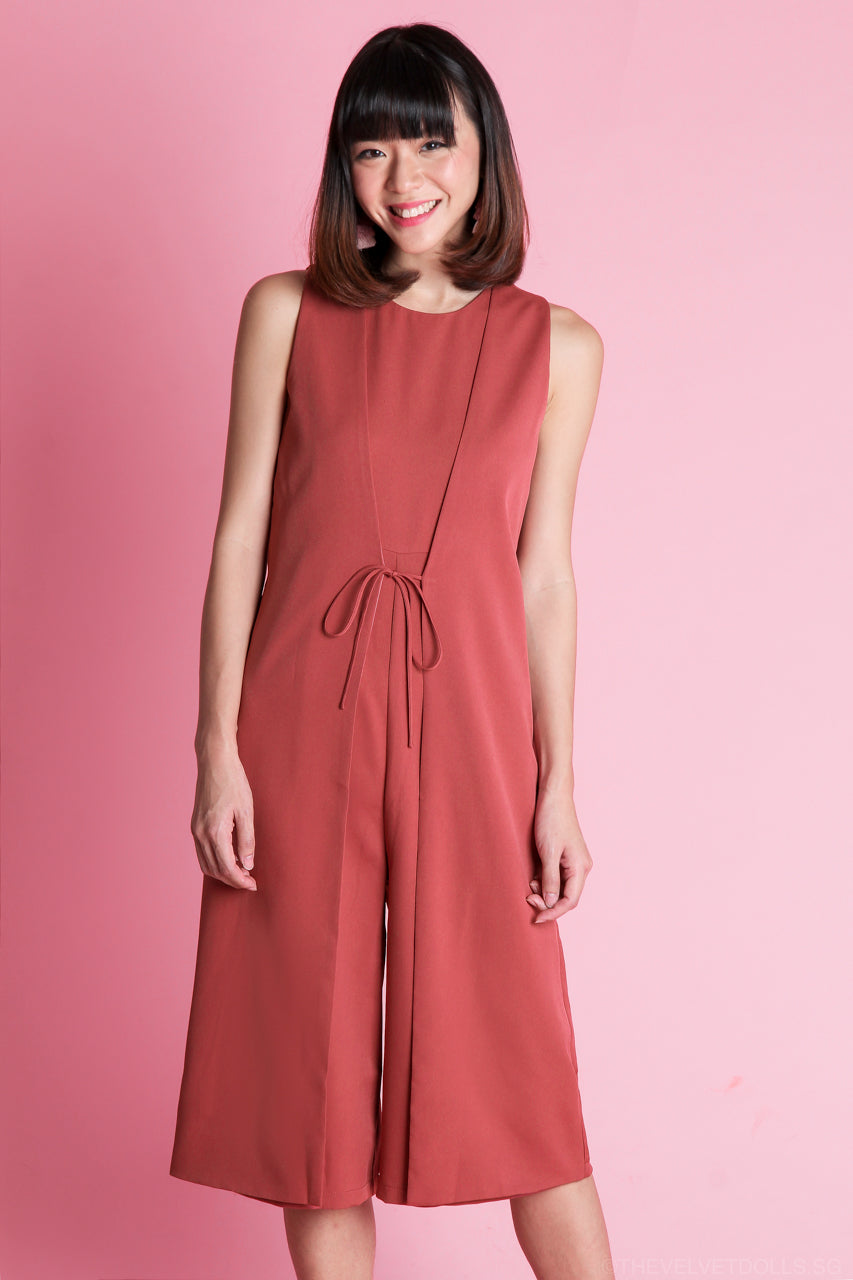 Renee Layered Jumpsuit in Brick