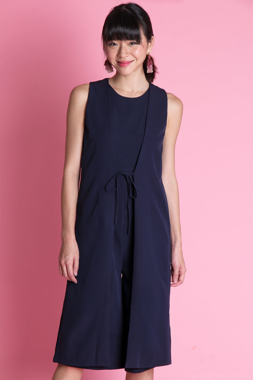 Renee Layered Jumpsuit in Navy