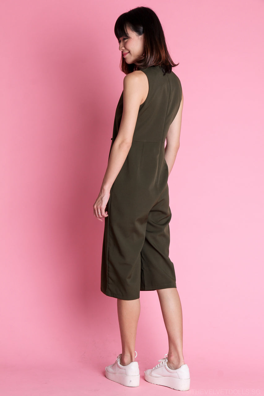 Renee Layered Jumpsuit in Olive