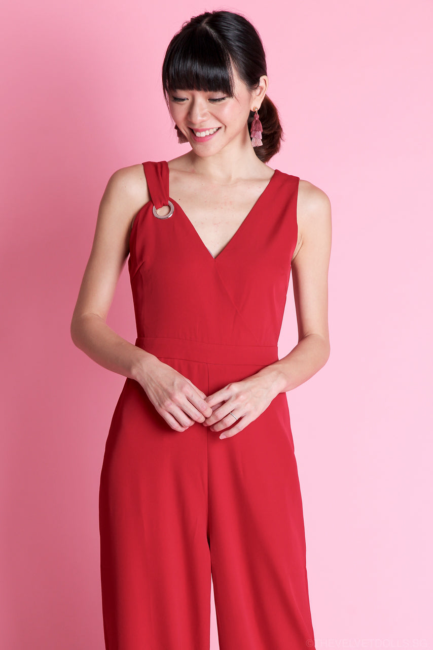 Ophelia V Jumpsuit in Red