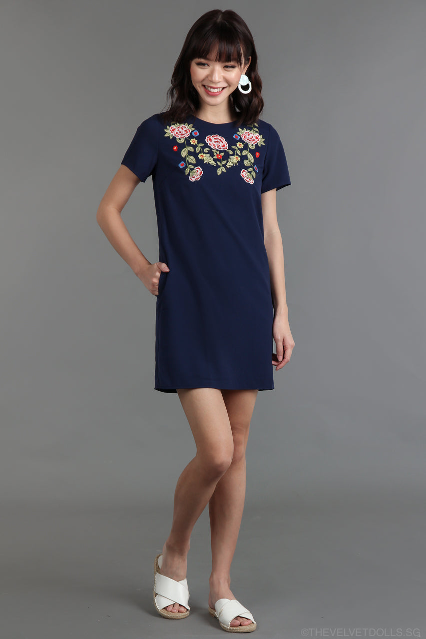 Restocked* Irish Rose Tee Dress in Navy