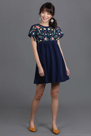 Restocked* Briar Rose Embroidered Playsuit in Navy