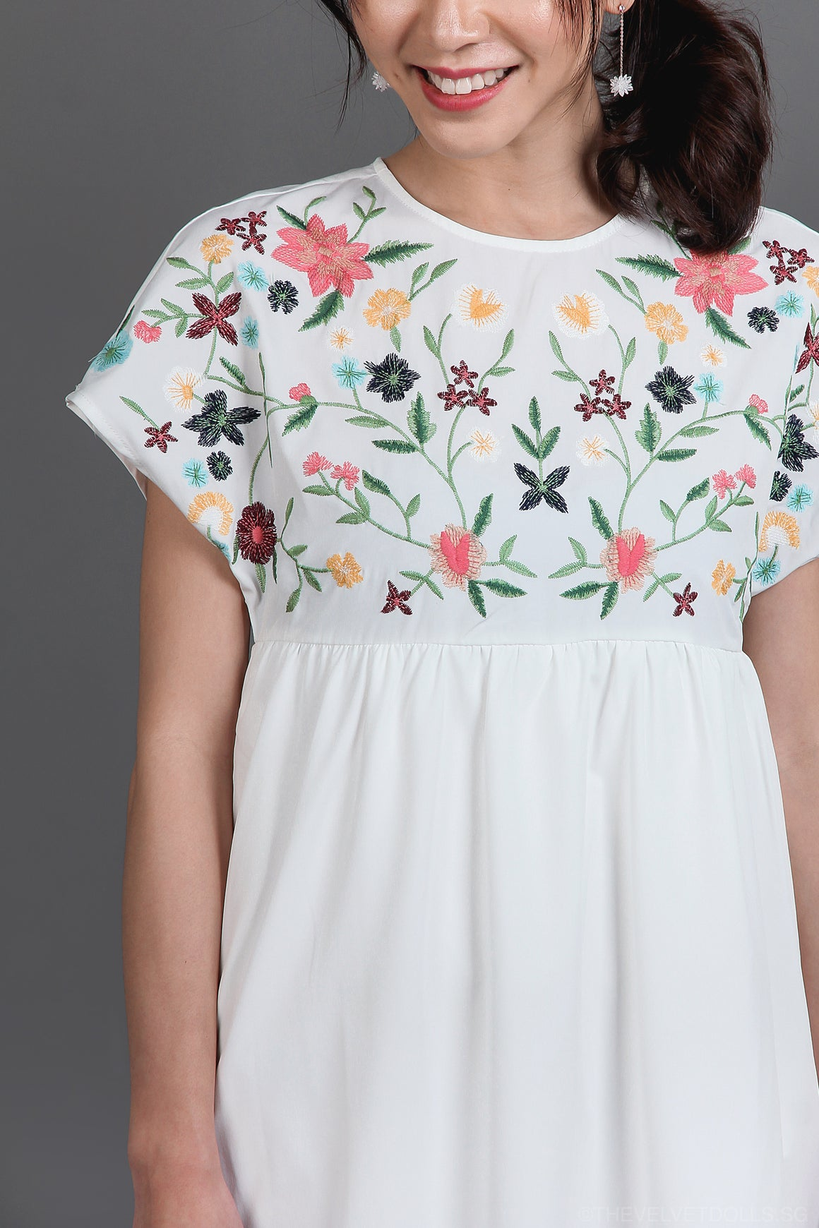 Backorder* Briar Rose Embroidered Playsuit in White