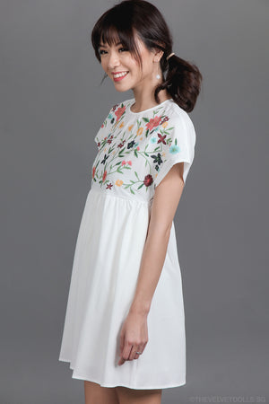 Restocked* Briar Rose Embroidered Playsuit in White