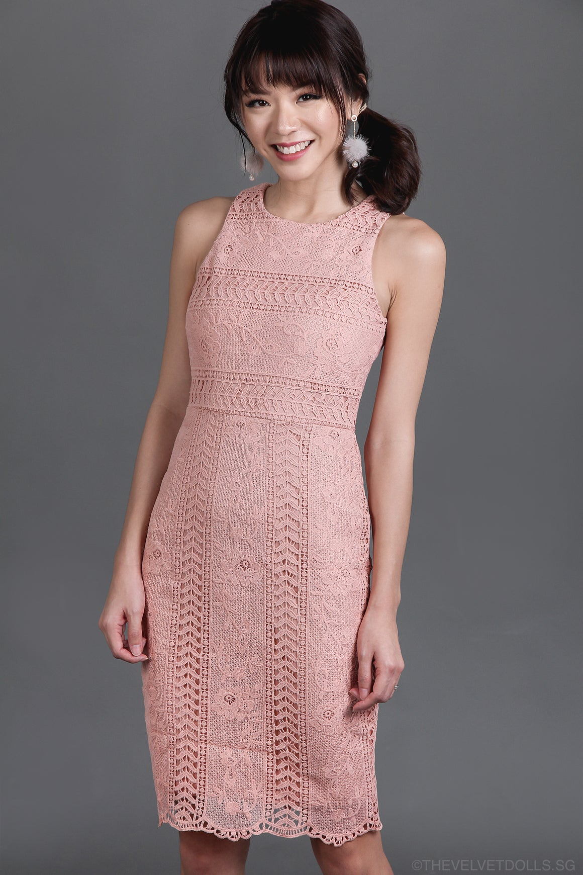 In Favour of Lace Fit Dress in Nude Pink