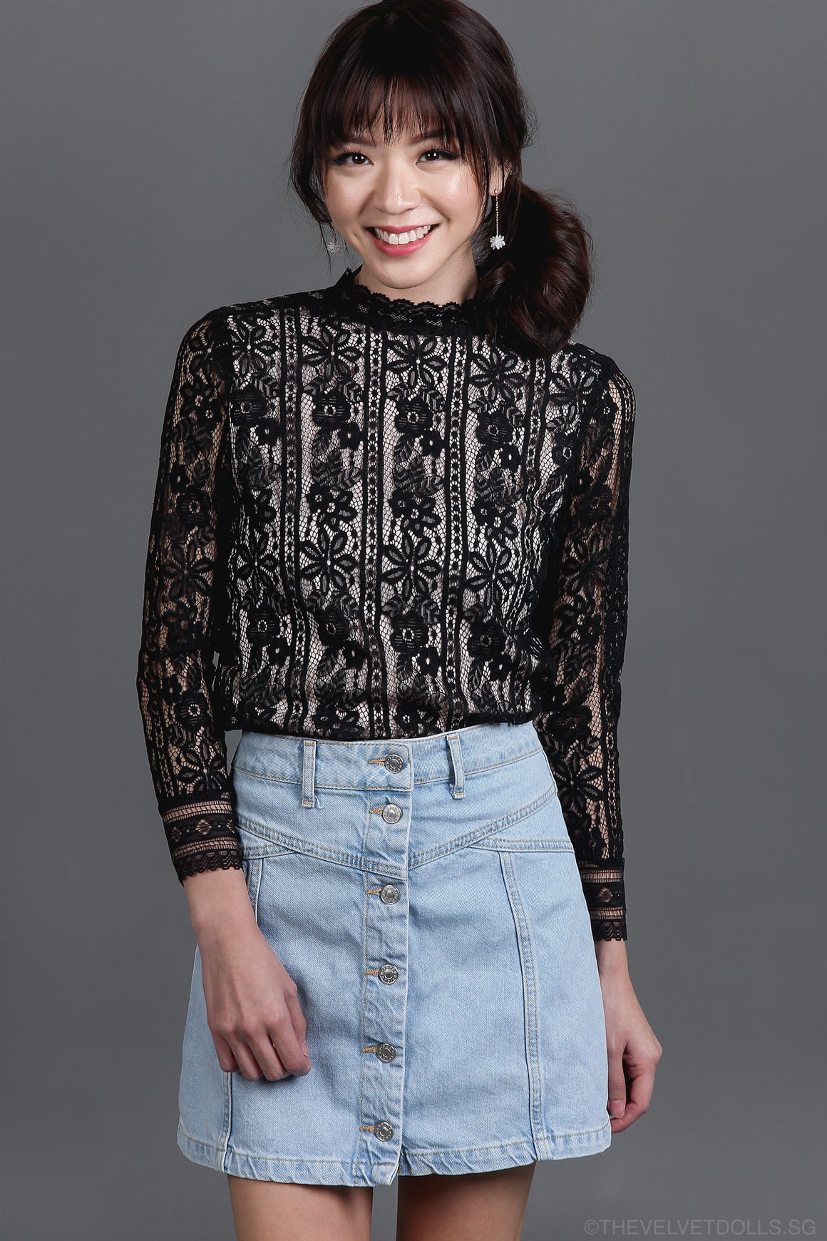 Pandora Lace Blouse in Black