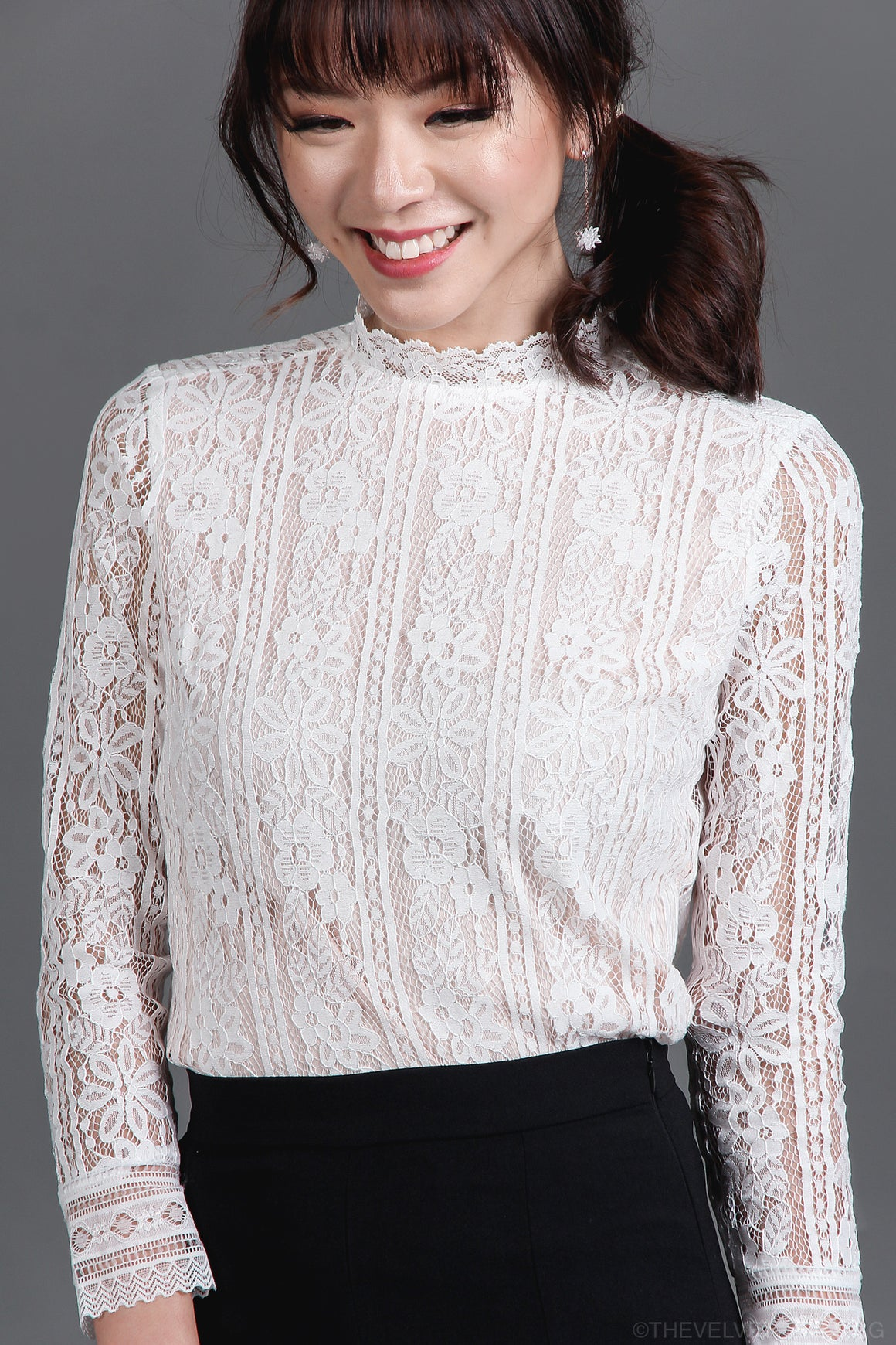 Restocked* Pandora Lace Blouse in White