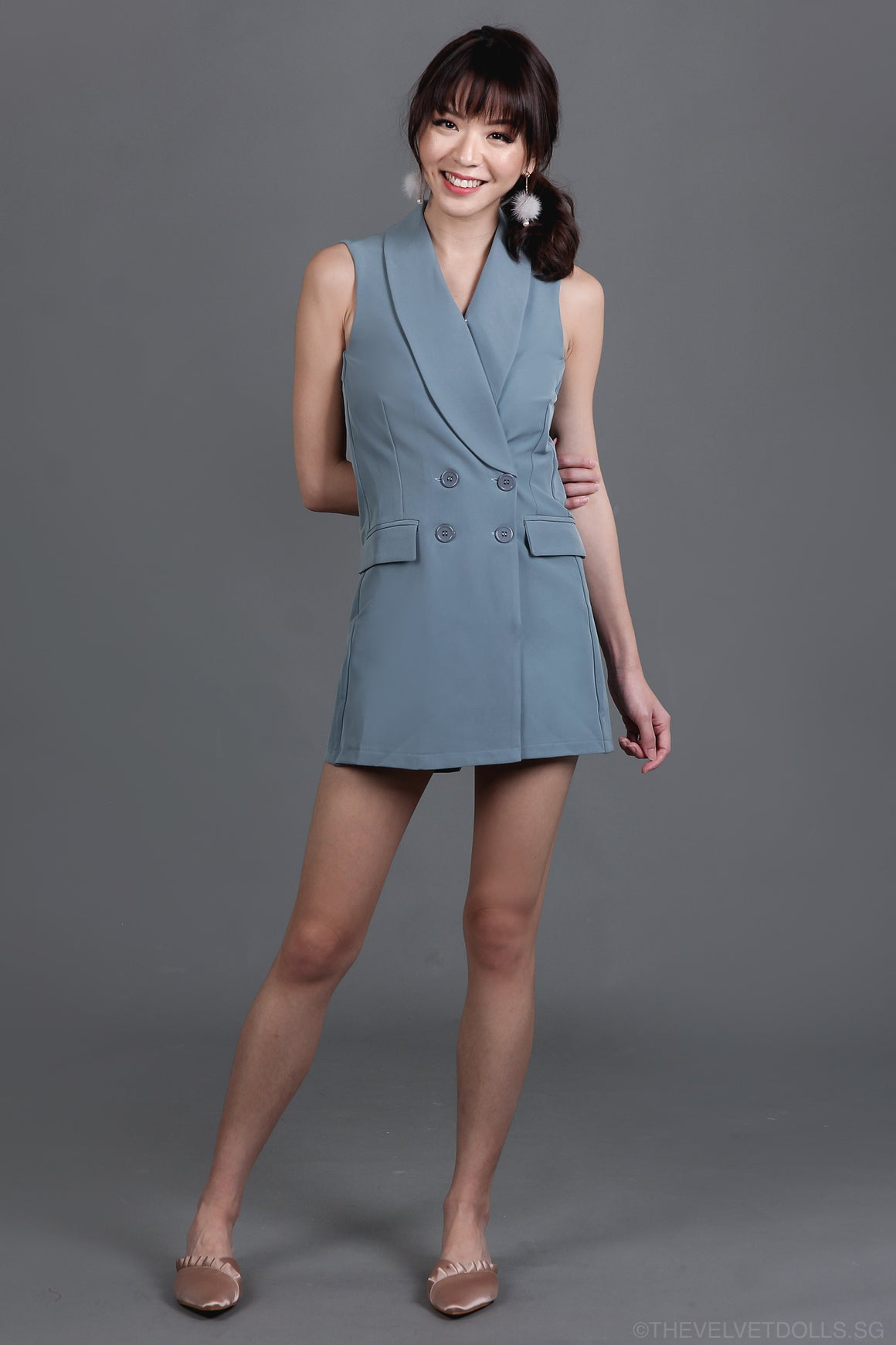 Restocked* Yves Tux Playsuit in Ash Blue