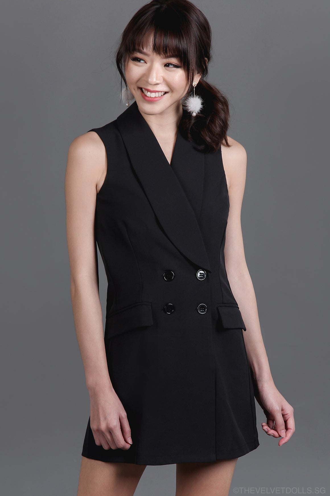 Backorder* Yves Tux Playsuit in Black