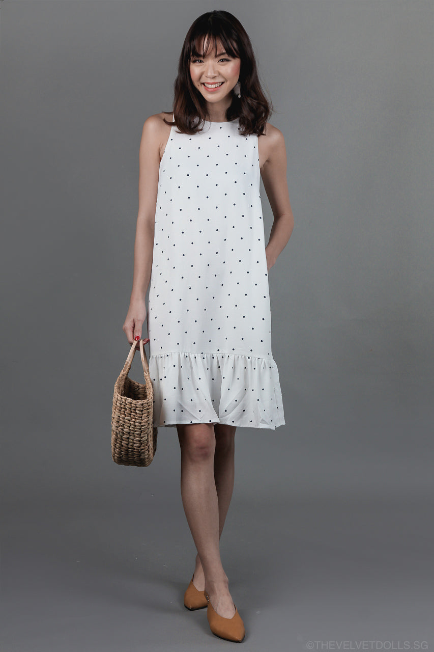 Restocked* Connect The Dots Drophem Dress in White