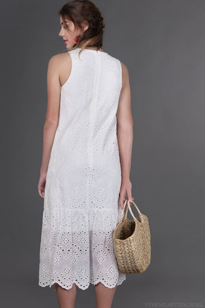 Restocked* Stockholm Eyelet Drophem Dress in White