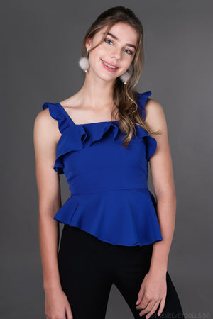Selina Ruffle Strap Top in Blue