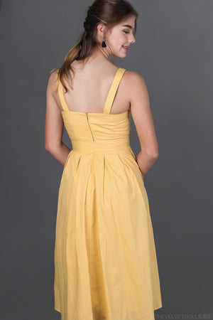 Valentina Button Down Sundress in Daffodil Yellow