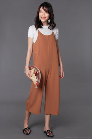 Arissa Strappy Culottes Jumpsuit in Camel