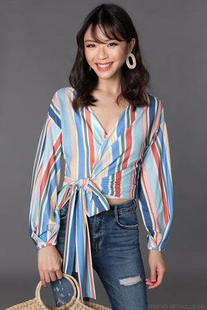 Carnival Wrap Top in Rainbow Stripes