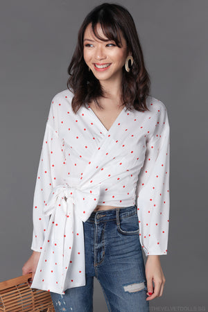 Carnival Wrap Top in White & Red Polkadots