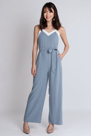 Ame Contrast Jumpsuit with Sash in Ash Blue