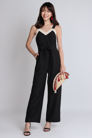 Restocked* Ame Contrast Jumpsuit with Sash in Black