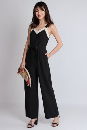 Ame Contrast Jumpsuit with Sash in Black