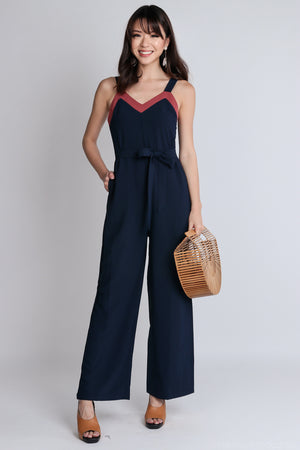 Restocked*  Ame Contrast Jumpsuit with Sash in Navy