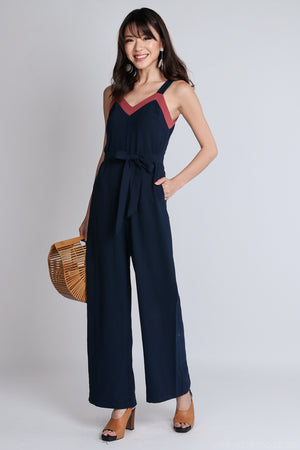 Backorder* Ame Contrast Jumpsuit with Sash in Navy