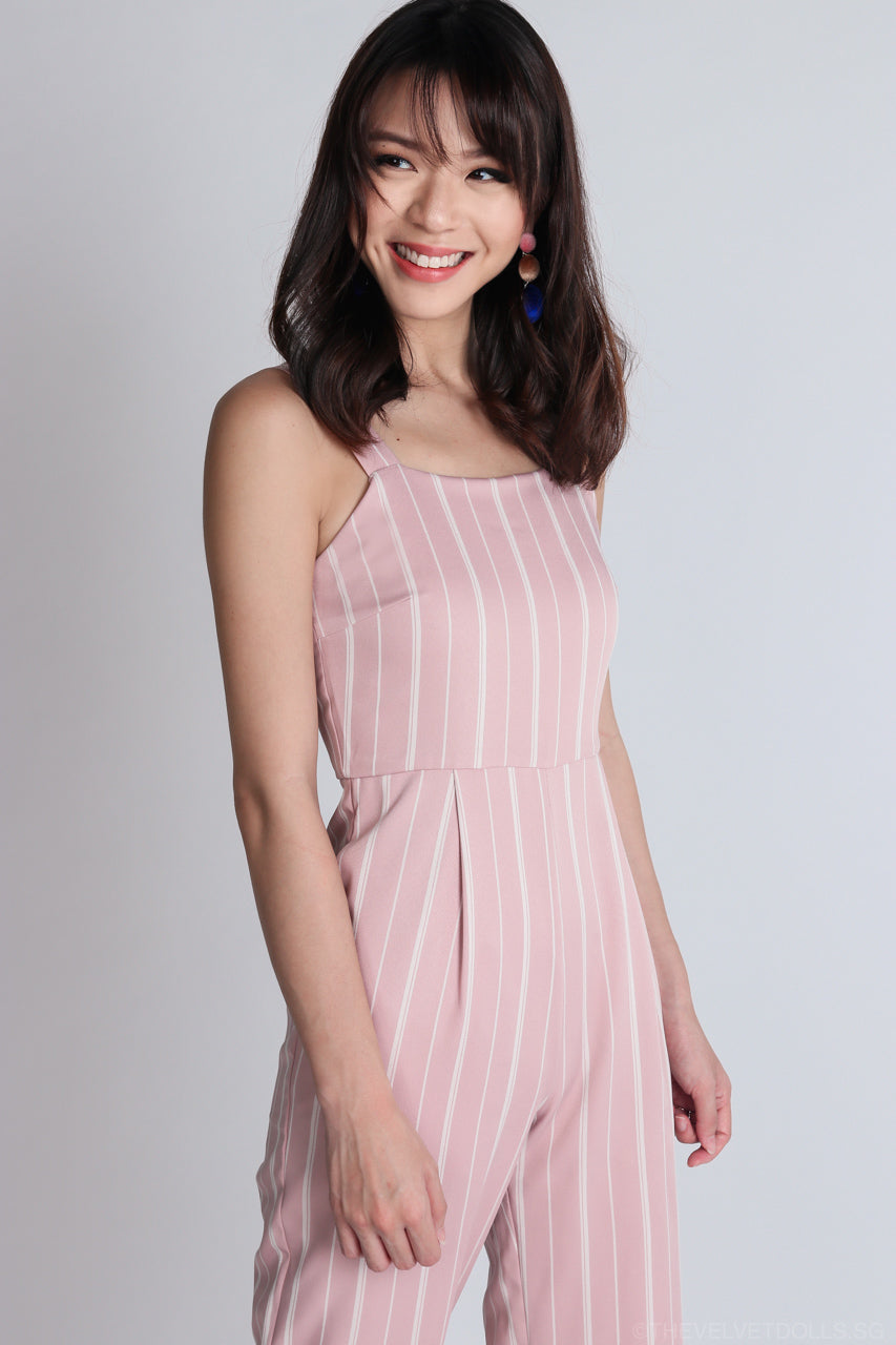 Salvador Striped Jumpsuit in Pink