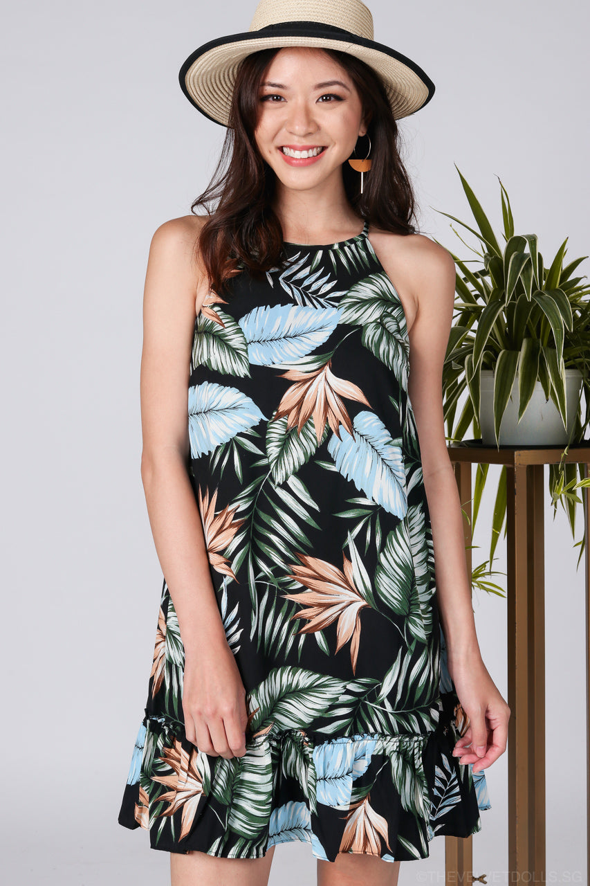 Amazonia Cut-In Drophem Dress in Black