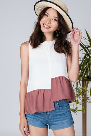 Jemimah Tier Top in White Rose