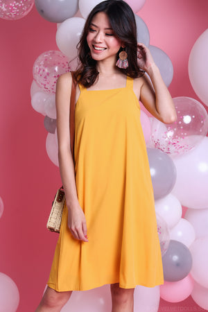 Bonnie Square Neckline Dress in Yellow