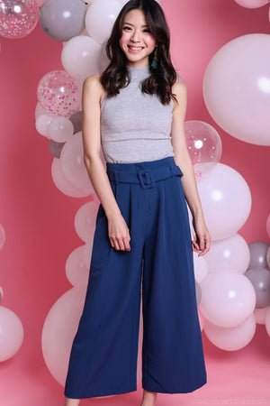 Backorder* Ellie Buckle Culottes Pants in Blue