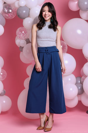 Ellie Buckle Culottes Pants in Blue