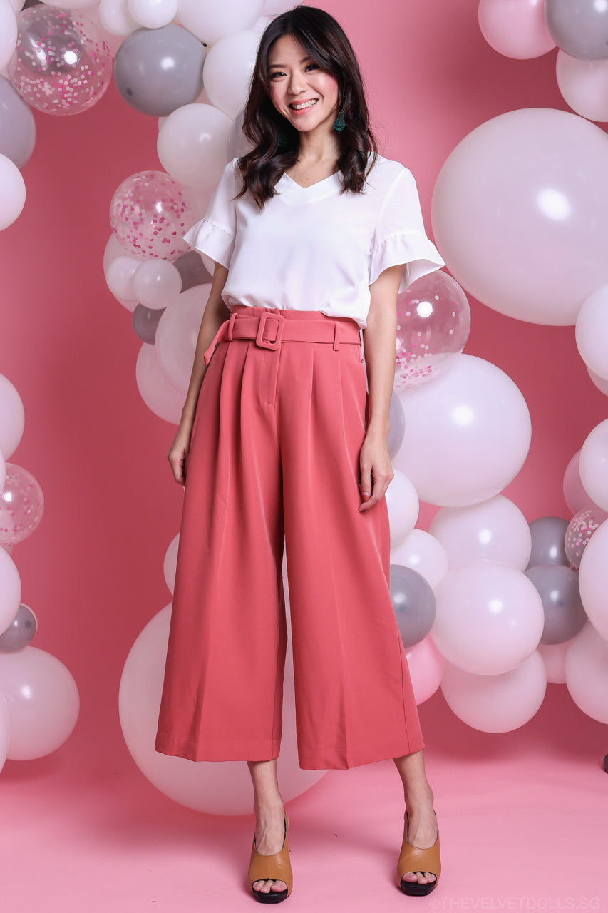 Ellie Buckle Culottes Pants in Pink