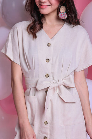Backorder* Canberra Linen Dress in Cream