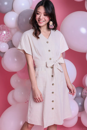 Restocked* Canberra Linen Dress in Cream