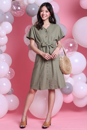 Backorder* Canberra Linen Dress in Moss
