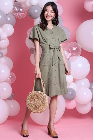 Restocked* Canberra Linen Dress in Moss