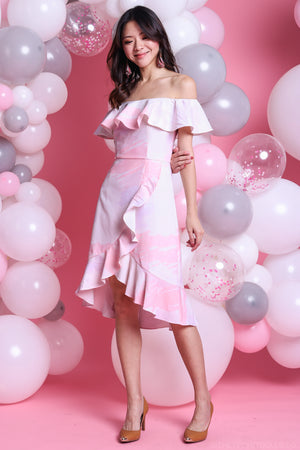 Cecilia Off-Shoulder Paintstroke Dress in Pink