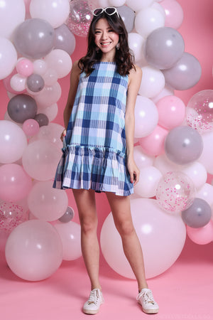 Anya Checkered Ruffle Hem Dress
