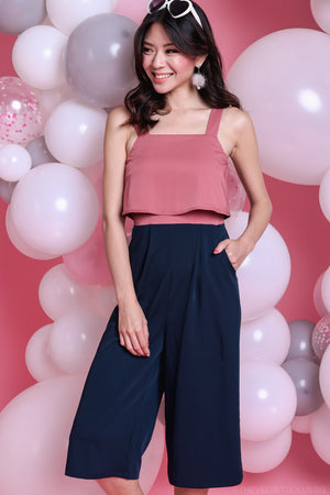 Backorder* Cadence Duo Tone Jumpsuit in Navy Rose