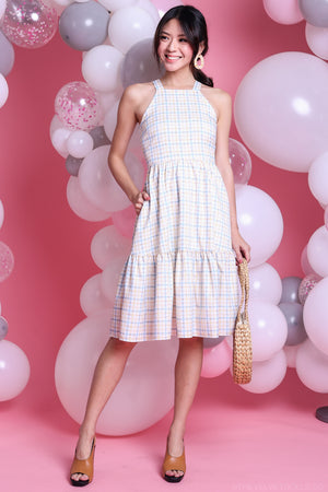 Penny Gingham Ruffle Hem Midi Dress