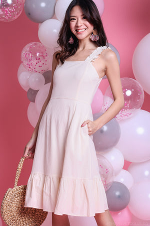 Juno Ruffle Strap Dress in Cream