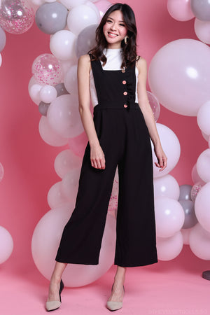 Lena Ruffle Pinafore Jumpsuit in Black